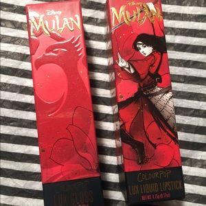 Colourpop Mulan Lip Gloss and Liquid Lipstick